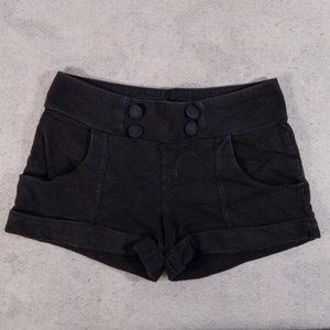 Divided H&M Size 34 Cute Button Solid Black Shorts